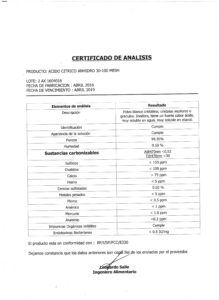 ACIDO CITRICO ANHIDRO - Lote 2AX1604016 001