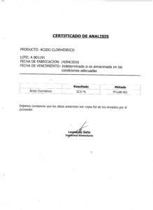 ÁCIDO CLORHIDRICO Lote A 801191