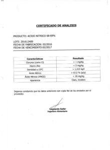Ácido Nitrico 68-69%  Lote 201612409