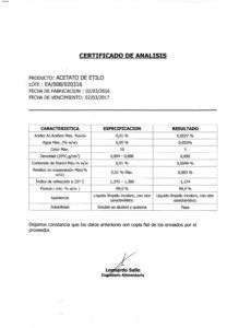 ACETATO DE ETILO - Lote EA-008-020316 001