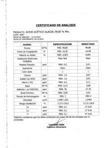 ACIDO ACETICO GLACIAL (FOOD GRADE) -Lote 4647 001
