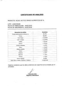 ACIDO LACTICO Grado Alimenticio - Lote L1602240260 001