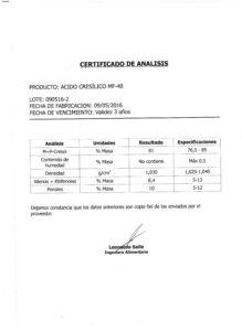 Acido Cresílico MF-40 - Lote 090516-2 001