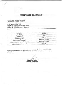 Acido Oxalico Lote VOAP03630415