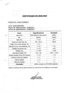 Acido Sorbico Lote SA20150814002