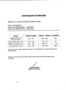 Acido Sulfonico Lote TDLS2160513 001