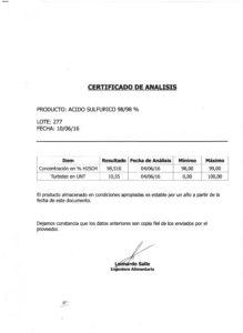 Acido Sulfurico Lote 277 001
