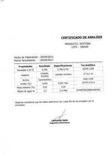 ACETONA - Lote 160420 001
