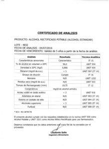 ALCOHOL RECTIFICADO - Lote 4832 001