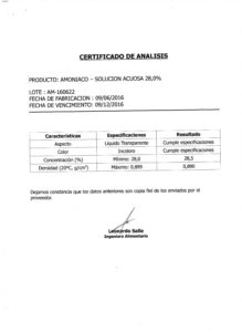 AMONIACO SOL. 28% - Lote AM-160622 001