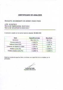 BICARBONATO DE AMONIO- LOTE 20150705-3