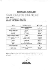 Benzoato de Sodio Polvo - Lote 160428 001