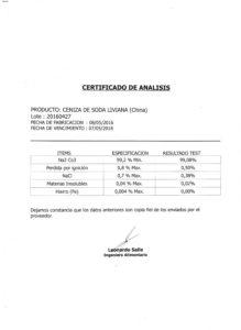 CENIZA DE SODA LIV.(CH) - Lote Nº16L409 001