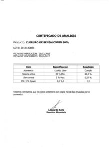 CLORURO DE BENZALCONIO - Lote 2015122801 001
