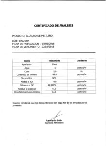 Cloruro de Metileno - Lote 020216M 001