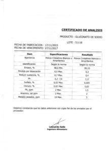 GLUCONATO DE SODIO - Lote 51118 001