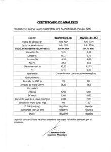 GOMA GUAR - RETESTEO Lotes 250-14-1341 y1342 001