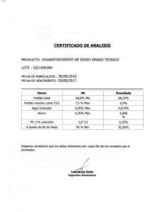 HEXAMETAFOSFATO DE SODIO TECNICO - Lote 332150930H 001