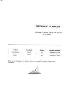 HIPOCLORITO DE SODIO - Lote 81202 001