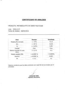 METABISULFITO DE SODIO FOOD G.(CH) - Lote 2016-4-27 001