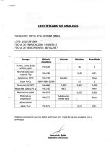 METIL ETIL KETONA - Lote 15109F1904 001