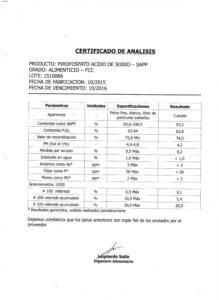 PIROFOSFATO ACIDO DE SODIO LOTE 151008A