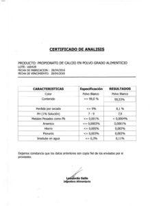 Propionato de Calcio Food G.(Polvo) - Lote 160428 001