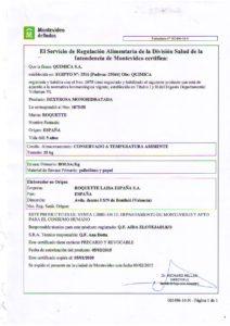 REGISTRO IMM 1075-58 - DEXTROSA LAISA ROQUETTE