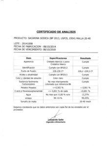 SACARINA SODICA - Lote 20141008 001