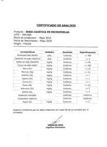 SODA CAUSTICA PERLAS (INOVYN) - Lote TAP1605 001
