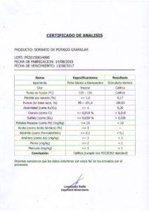 SORBATO DE POTASIO- LOTE PS20150814005