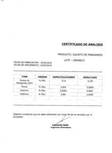 SULFATO DE MANGANESO - Lote 16NH0015 001