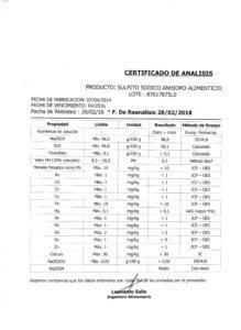 SULFITO SODICO ANHI.ALIMENTICIO - Lote 87617875L0 001