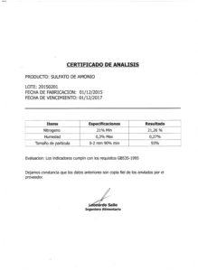 Sulfato de Amonio - Lote 20150201 001