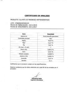 Sulfato de Magnesio Heptahidratado - Lote 370600WJ3550103 001